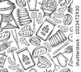 barbecue seamless pattern.... | Shutterstock .eps vector #1023472930