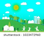 the family is happy and natural ... | Shutterstock .eps vector #1023472960