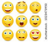 set of emoji. smileys vector... | Shutterstock .eps vector #1023473950