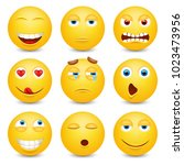 set of emoji. smileys vector... | Shutterstock .eps vector #1023473956