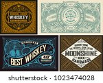 retro card. set of 4 templates. ... | Shutterstock .eps vector #1023474028