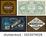 retro card. set of 4 templates. ... | Shutterstock .eps vector #1023474028