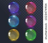 vector set of glass balls | Shutterstock .eps vector #1023474904