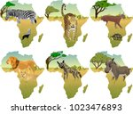 african savannah with different ... | Shutterstock .eps vector #1023476893