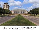 the main entrance to texas a  ... | Shutterstock . vector #1023483109