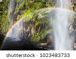 beautiful view of waterfalls... | Shutterstock . vector #1023483733