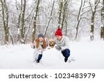 girl  boy and dog posing near... | Shutterstock . vector #1023483979
