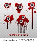 set of bullet holes with blood... | Shutterstock .eps vector #1023488653