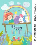 cute girl with easter rabbits...   Shutterstock .eps vector #1023496330
