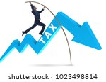 businessman jumping over tax in ... | Shutterstock . vector #1023498814