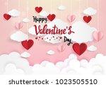 paper art of illustration love... | Shutterstock .eps vector #1023505510