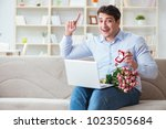 young man making marriage... | Shutterstock . vector #1023505684