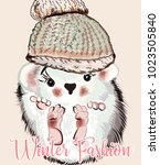 fashion illustration with baby... | Shutterstock .eps vector #1023505840