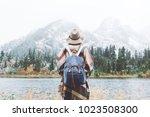 styish woman feeling happy... | Shutterstock . vector #1023508300