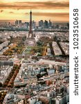 aerial paris view in late... | Shutterstock . vector #1023510658