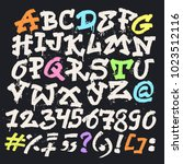 alphabet graffiti vector... | Shutterstock .eps vector #1023512116