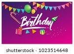 happy birthday typography... | Shutterstock .eps vector #1023514648