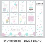 blue pink pastel greeting card... | Shutterstock .eps vector #1023515140
