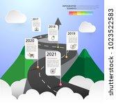road way infographic template 5 ... | Shutterstock .eps vector #1023522583