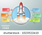 design rocket launch... | Shutterstock .eps vector #1023522610