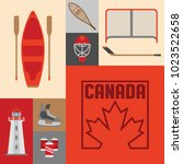 a cute collection of canadian... | Shutterstock .eps vector #1023522658