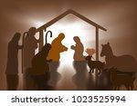 christian christmas nativity... | Shutterstock .eps vector #1023525994