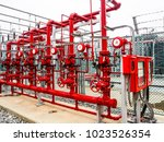 manual valve of fire... | Shutterstock . vector #1023526354