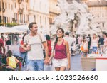 rome travel young couple... | Shutterstock . vector #1023526660