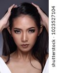beautiful asian long straight... | Shutterstock . vector #1023527104