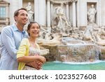 rome travel tourists couple at... | Shutterstock . vector #1023527608