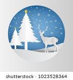 deer silhouette standing on a... | Shutterstock .eps vector #1023528364