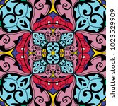 ethnic geometric print.... | Shutterstock .eps vector #1023529909