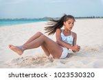 abs workout   fitness woman... | Shutterstock . vector #1023530320