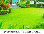 modern house with beautiful...   Shutterstock . vector #1023537268