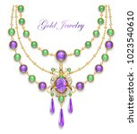 necklace decorated with...   Shutterstock .eps vector #1023540610