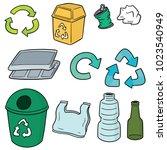 vector set of recycle garbage | Shutterstock .eps vector #1023540949