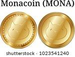 set of physical golden coin... | Shutterstock .eps vector #1023541240