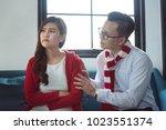 beautiful asian girl feel angry ... | Shutterstock . vector #1023551374