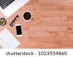 modern office desk wooden table ... | Shutterstock . vector #1023554860