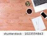 modern office desk wooden table ... | Shutterstock . vector #1023554863