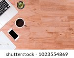 modern office desk wooden table ... | Shutterstock . vector #1023554869