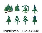 collection of green pine trees... | Shutterstock .eps vector #1023558430