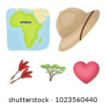 cork hat  darts  savannah tree  ... | Shutterstock .eps vector #1023560440