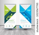 green   blue roll up business... | Shutterstock .eps vector #1023567700