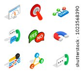 respond icons set. isometric... | Shutterstock .eps vector #1023568390