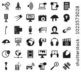 multimedia things icons set.... | Shutterstock .eps vector #1023573028