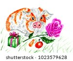 hand drawn portrait of guinea... | Shutterstock . vector #1023579628