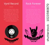 vinyl record and rock forever... | Shutterstock .eps vector #1023580870