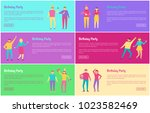 birthday party banners set push ...   Shutterstock .eps vector #1023582469