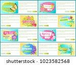 spring big sale off set of... | Shutterstock .eps vector #1023582568